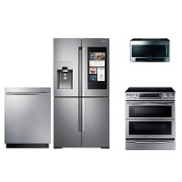 KIT Samsung 4 Piece Electric Kitchen Appliance Package with French Door Smart Refrigerator - Stainless Steel