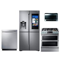 KIT Samsung 4 Piece Samsung Kitchen Appliance Package with Gas Range - Stainless Steel