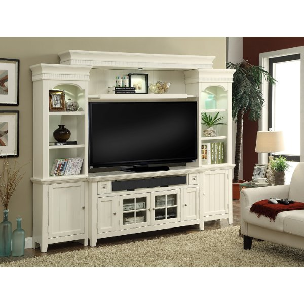 ... Modern White 4 Piece Country Entertainment Center   Tidewater