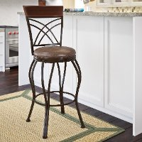 Metal/ Brown Bonded Leather Bar Stool - Jericho