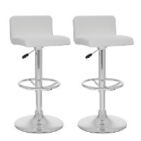 White and Chrome Low Back Adjustable Bar Stool (Set of 2)