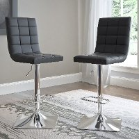 Black Bonded Leather Adjustable Bar Stool (Set of 2)