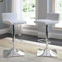 White Bonded Leather Adjustable Bar Stool (Set of 2)