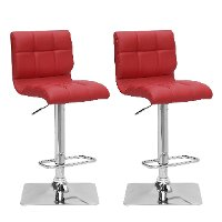 Red Bonded Leather Adjustable Bar Stool (Set of 2)