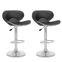 Black Form-Fitting Adjustable Bar Stool (Set of 2)