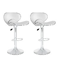 White Curved Form-Fitting Adjustable Bar Stool (Set of 2)