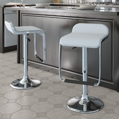 White Adjustable Bar Stool With Footrest (Set Of 2)