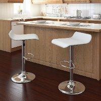 White Curved Adjustable Bar Stool (Set of 2)