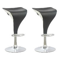Two-Toned Adjustable Bar Stool in Black and White (Set of 2)