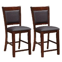Brown Bonded Leather Counter Height Stool Pair