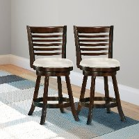 Cappuccino/ White Ladder Back Counter Height Stool (Set of 2) - Woodgrove