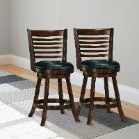 Cappuccino/ Black Bonded Leather Counter Height Stool Pair - Woodgrove