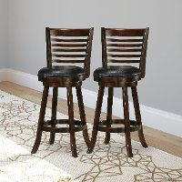 Cappuccino/ Black Bonded Leather Bar Stool Pair - Woodgrove
