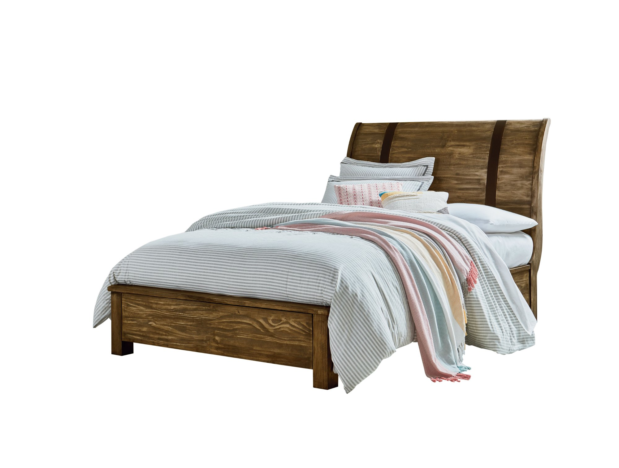 Rustic casual pine 6 piece full bedroom set nelson rc willey furniture store for Full size sleigh bedroom sets