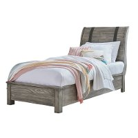 Rustic Gray Twin Sleigh Bed - Nelson