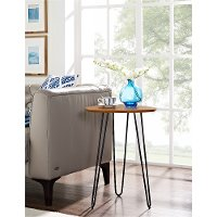 Walnut Hairpin Leg Wood Side Table (18 Inch)