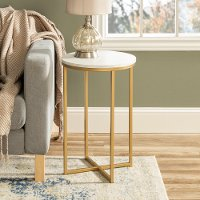 White Faux-Marble 16 Inch Round Side Table with Gold Base