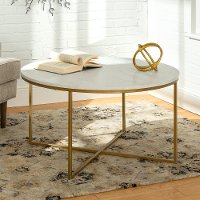 Marble/ Gold Round Coffee Table (36 Inch) - Phoebe