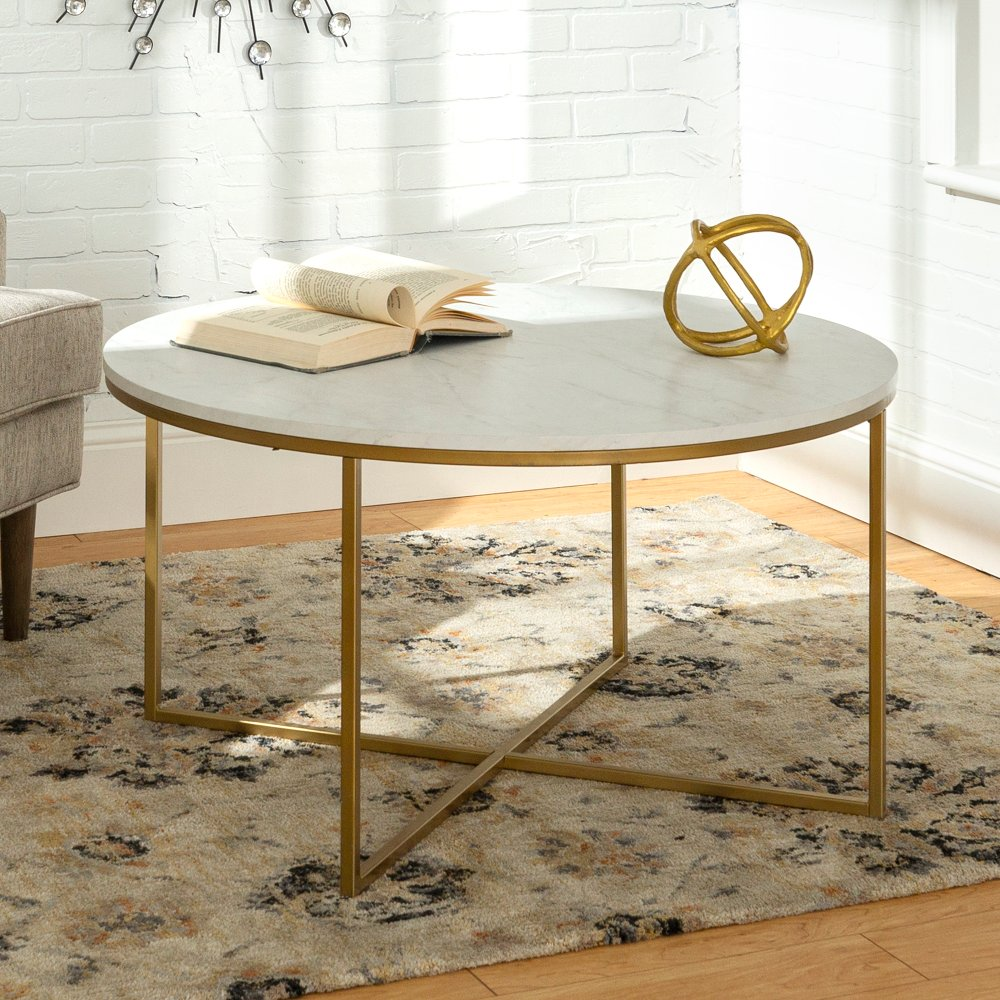 Marble and Gold Round Coffee Table RC Willey Furniture Store