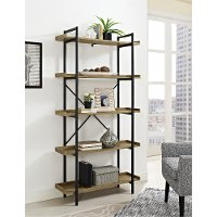 Black Pipe/ Barnwood 5-Shelf Bookshelf (68 Inch)