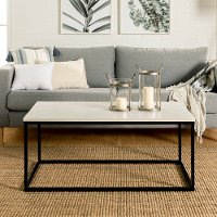 Modern 42 inch Coffee Table - White Marble