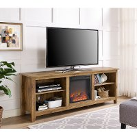 Brown Wood 70 Inch TV Stand with Fireplace
