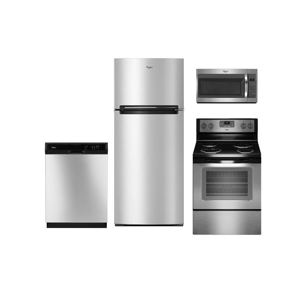 S  KIT Whirlpool 4 Piece Kitchen Appliance Package With Electric Range   Stainless Steel