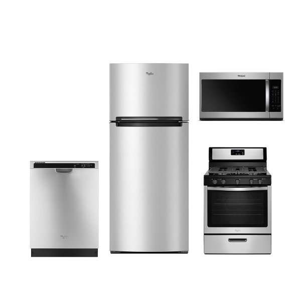 ... KIT Whirlpool 4 Piece Kitchen Appliance Package With Gas Range    Stainless Steel