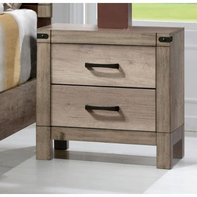 Rustic Contemporary Antiqued White Nightstand - Matteo