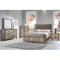 Rustic Contemporary Antiqued White 4 Piece Queen Bedroom Set - Matteo