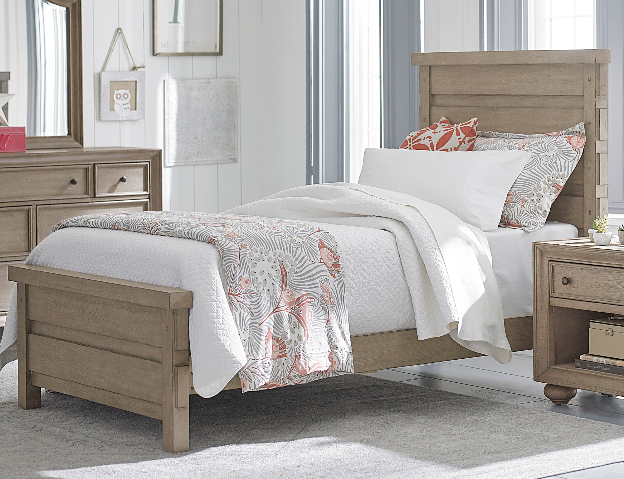 Weathered Gray Bedroom Furniture : Classic weathered gray piece twin bedroom set heather