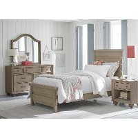 Classic Weathered Gray 6-Piece Twin Bedroom Set - Heather