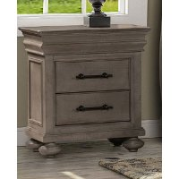 Classic Traditional Gray Nightstand - Hudson Square
