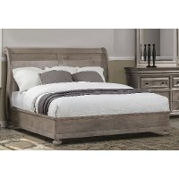 Classic Traditional Gray Queen Sleigh Bed - Hudson Square