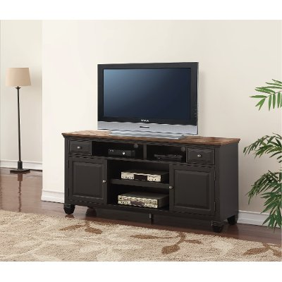 68 Inch Antique Black TV Stand - Brighton Hickory