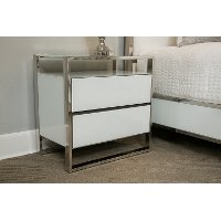 White & Silver Modern Nightstand - State St.