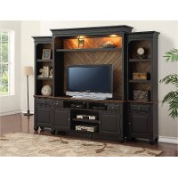 Antique Black 4 Piece Chic Entertainment Center - Brighton Hickory