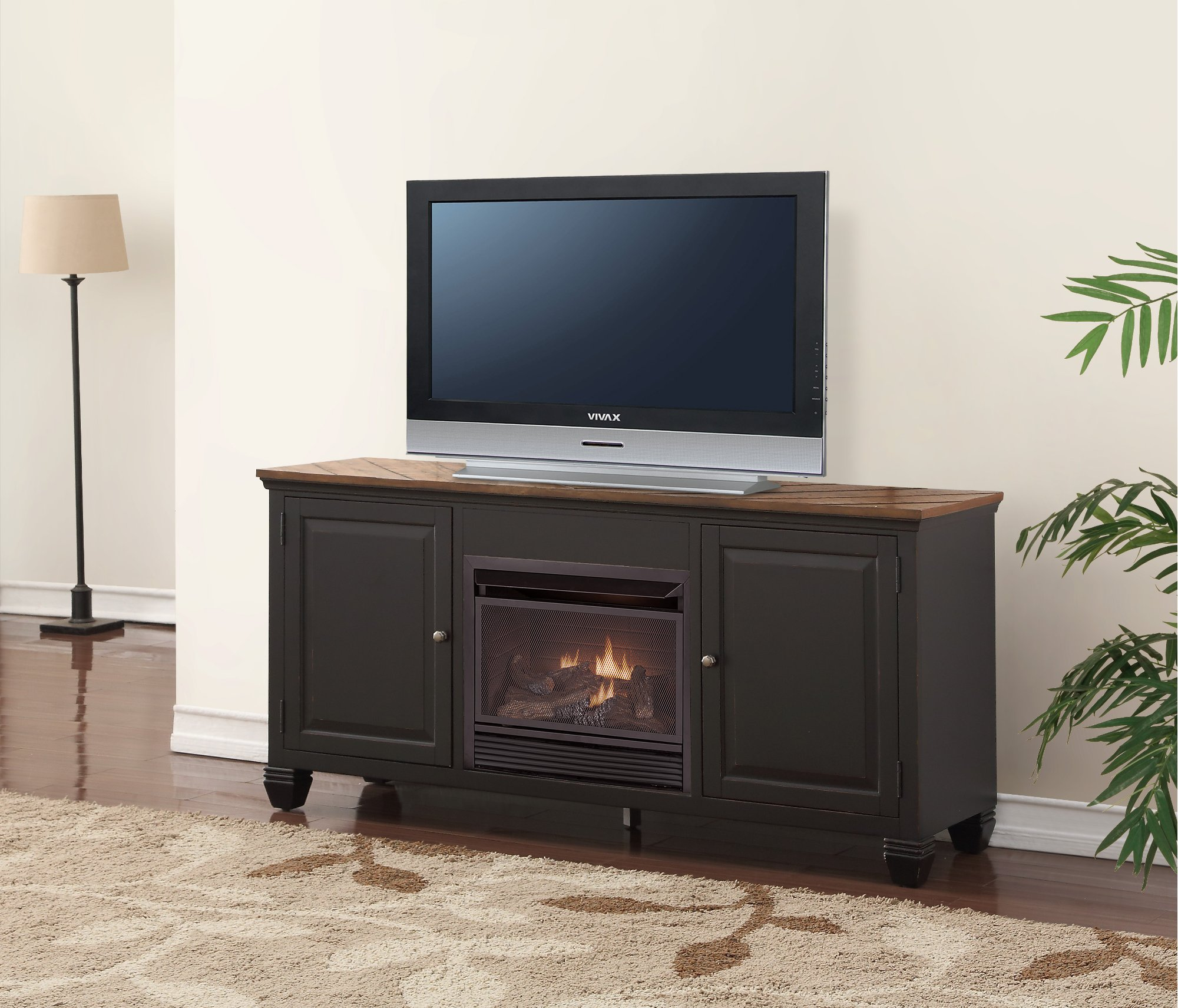 antique black tv stand with fireplace and hutch brighton hickory