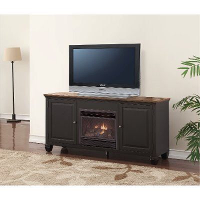 68 Inch Antique Black TV Stand with Fireplace - Brighton Hickory