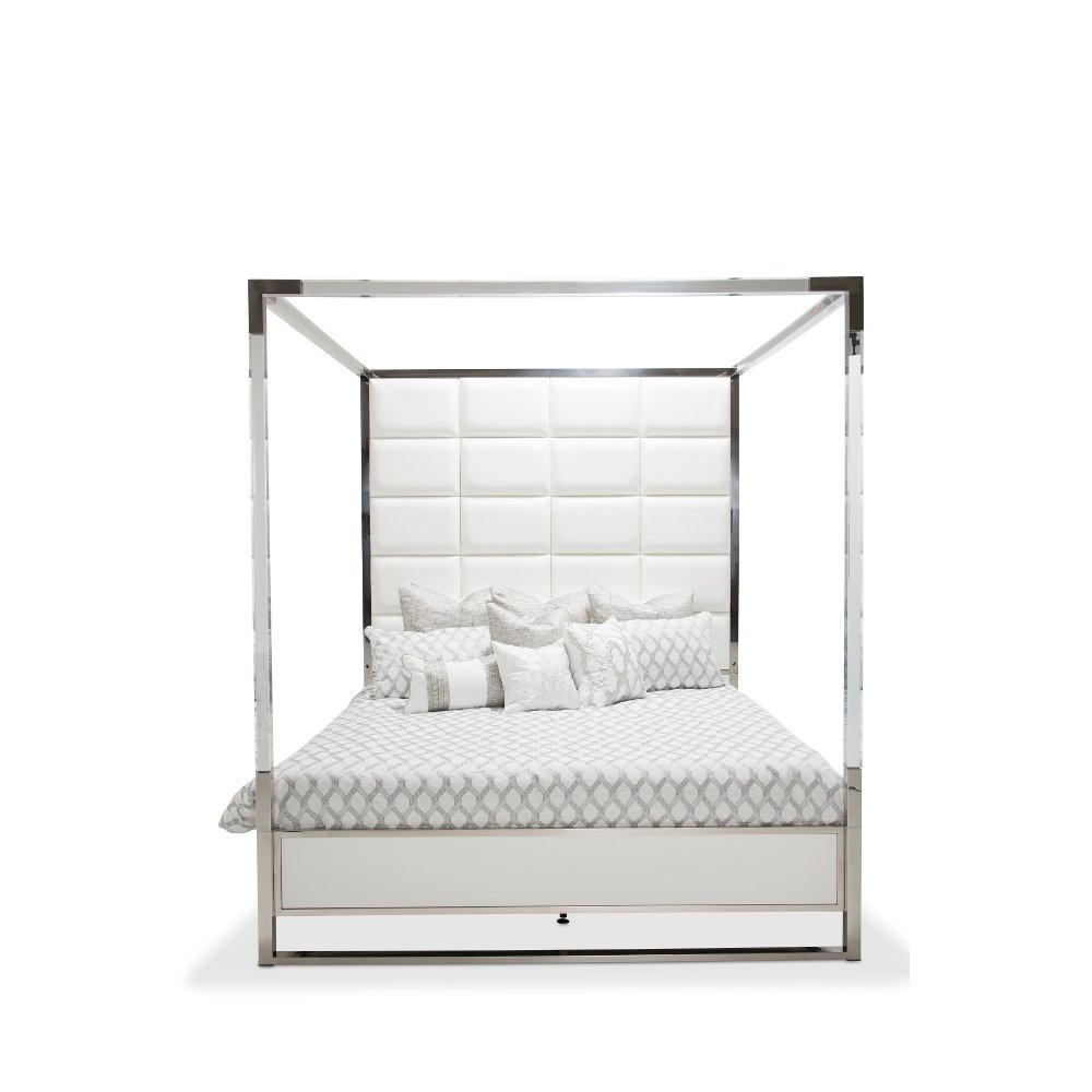 white u0026 silver modern king size canopy bed state st rc willey furniture store