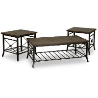 Rustic Brown 3 Piece Coffee Table Set - Ainsley