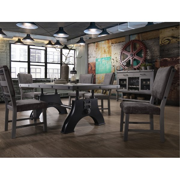 5PC:HM4290/DINING Gray And Black Industrial 5 Piece Dining Set   Factory  Collection