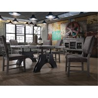 5PC:HM4290/DINING Gray and Black Industrial 5 Piece Dining Set - Factory
