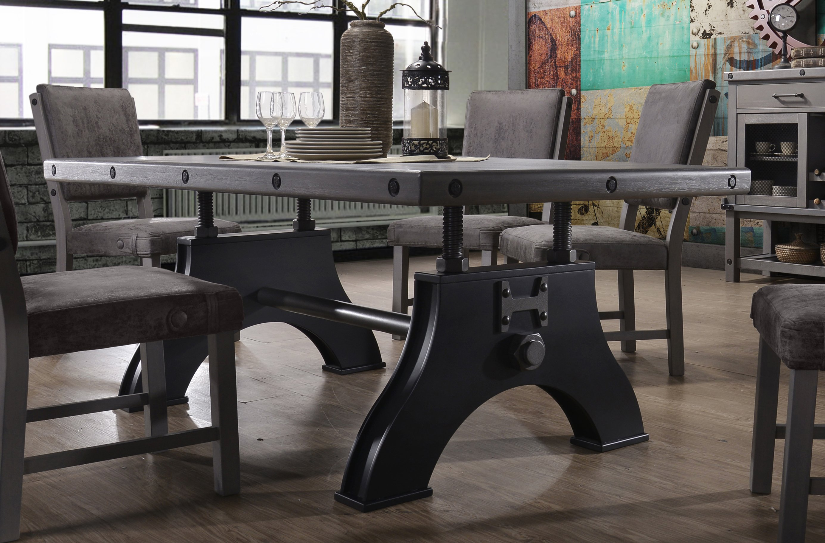 HM4290/TABLE Gray And Black Industrial Dining Table   Factory Collection