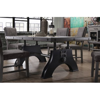 HM4290/TABLE Gray and Black Industrial Dining Table - Factory Collection
