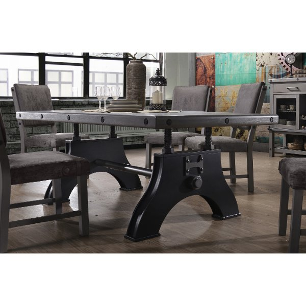HM4290 TABLE Gray And Black Industrial Dining Table