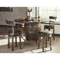 Brown 5 Piece Counter Height Dining Set with Backless Bar Stools - Barrel