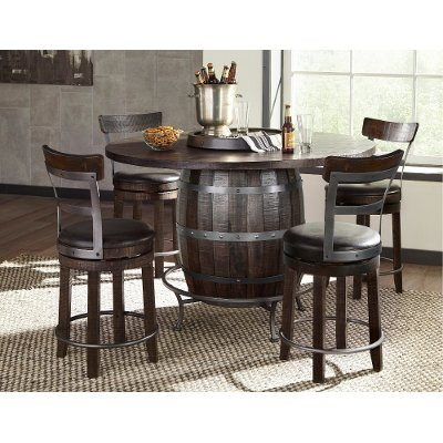 barrel dining chairs. Tobacco Brown 5 Piece Counter Height Dining Set - Barrel Chairs