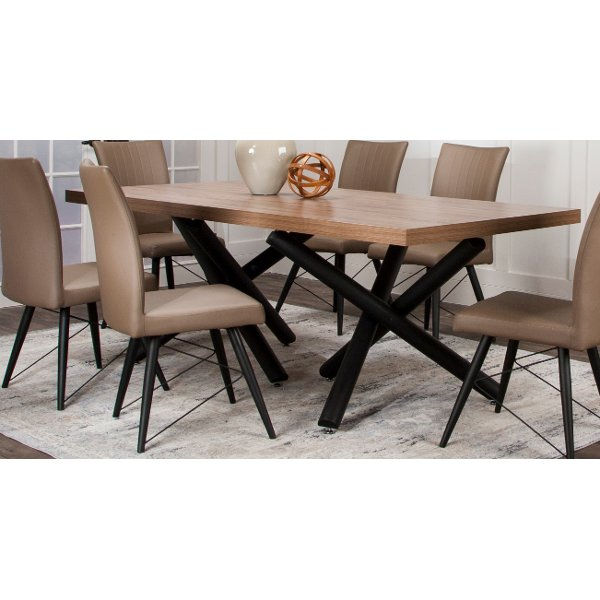 Clearance Hickory And Black Modern Dining Table
