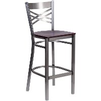 Metal Restaurant Bar Stool - Mahogany Wood Seat